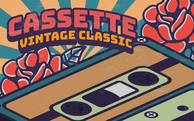 Plakaty kasetowe retro vintage ilustracja krajobraz