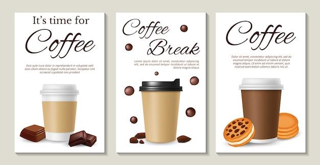 Plakaty kawowe. realistyczna kawa na wynos ciasteczka i czekoladę