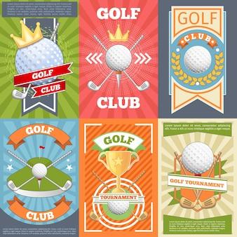 Plakaty klubów golfowych. konkurs bannerowy, gra i turniej,