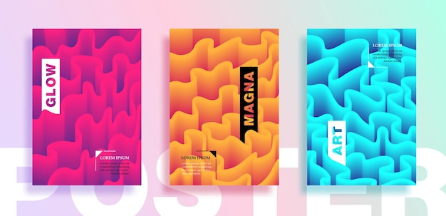 Plakaty lub okładki z płynnymi falistymi liniami. afisze, ulotki i projekty banerów.