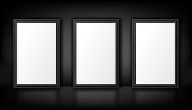 Plakaty na czarnym tle. biały lightbox. pusta reklama. realistyczna ilustracja
