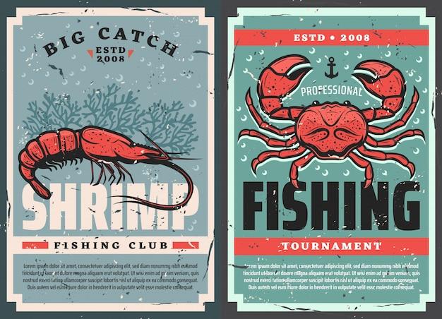 Plakaty retro, krewetki z owoców morza i wędkarstwo krabowe