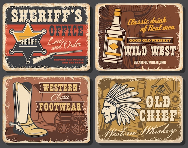 Plakaty retro z dzikiego zachodu, zestaw kart zachodnich