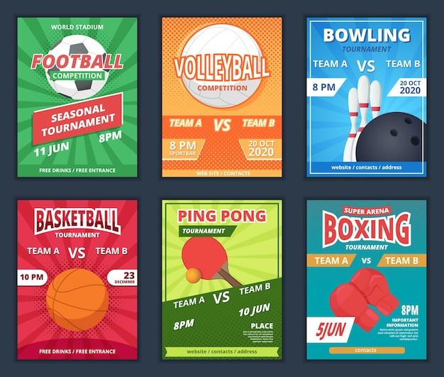 Plakaty sportowe. afisz promocyjny z szablonami wektor rakiety sprzęt fitness piłki. mistrzostwa plakatu sportowego, ilustracja ogłoszenia turnieju