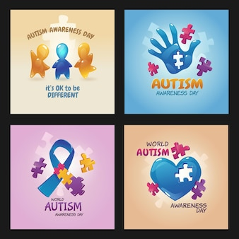 Plakaty światowego dnia świadomości autyzmu z puzzlami, otwartą dłonią z dziurką, niebieską wstążką, figurkami dzieci machającymi rękami i sercem