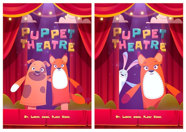 Plakaty Teatru Lalek Z Lalkami Zwierząt Darmowych Wektorów