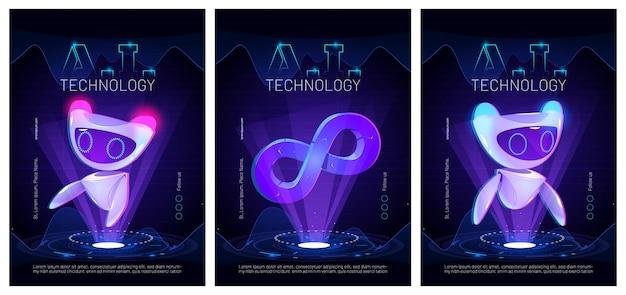 Plakaty technologii ai ze sztuczną inteligencją w postaci uroczego robota w nauce i biznesie koncepcja inteligentnej maszyny ilustracja kreskówka z futurystycznym botem