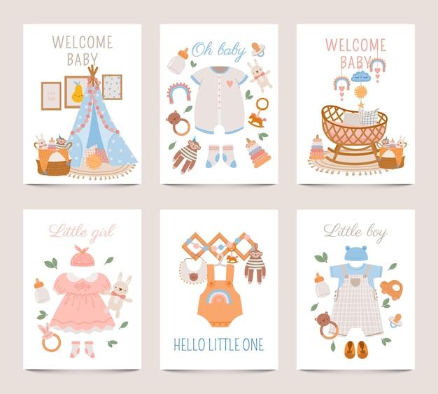 Plakaty wystrój przedszkola. karty baby shower dla chłopca i dziewczynki z ubraniami dla noworodka, zabawkami i łóżeczkiem w stylu boho. ładny dziecinny wektor wydruku zestaw. plakat dziecięcy, karta wnętrza mebli i ubrania