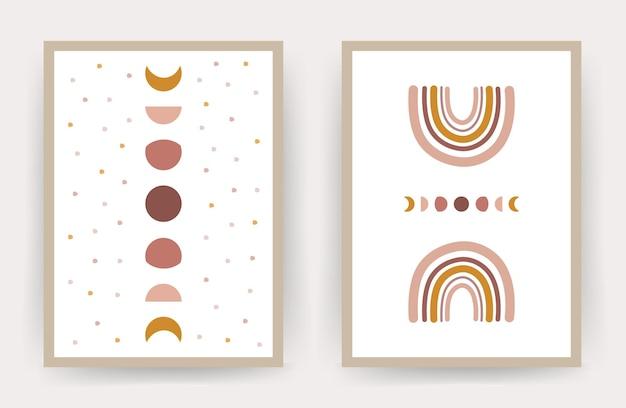 Plakaty z abstrakcyjną tęczą i księżycem. skandynawski design do wystroju domu.