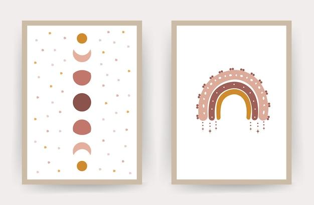 Plakaty z abstrakcyjną tęczą i księżycem.