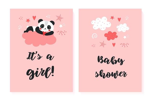 Plakaty z baby shower ustawiają zaproszenie panda vector z uroczymi ilustracjami