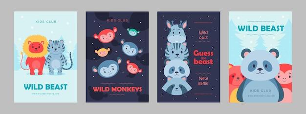 Plakaty z dzikimi zwierzętami ustawiają ilustrację kreskówki. śliczne bestie dla klubu dla dzieci, dziki quiz. lew, panda, małpa, postacie żyrafy w płaskiej kolorowej konstrukcji. gra, zwierzę, natura, zoo, koncepcja cyrku