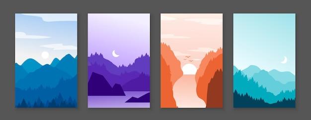 Plakaty z górami. skaliste góry i ośnieżone szczyty, banery z kreskówkową naturą na zewnątrz. wektor graficzny ilustracja abstrakcyjny zestaw pionowy krajobraz górski