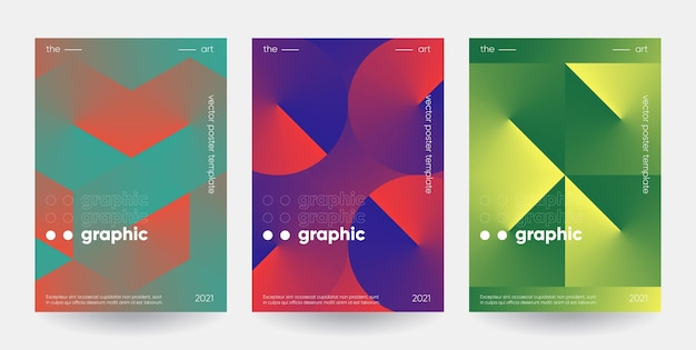 Plakaty z gradientowymi kształtami