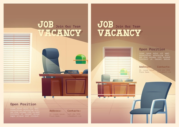 Plakaty z kreskówek z ofertami pracy, które zatrudniamy koncepcja
