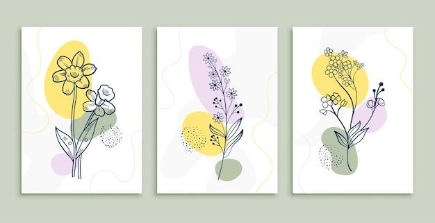 Plakaty z rysunkami kwiatów przedstawiają minimalną sztukę botaniczną
