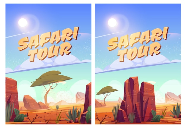 Plakaty z safari z krajobrazem afrykańskiej sawanny