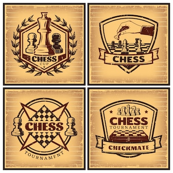 Plakaty z turniejów szachowych w stylu vintage