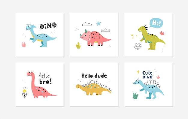 Plakaty z uroczymi dinozaurami. wektor wzór do pokoju dziecka, kartki z życzeniami, koszulki.