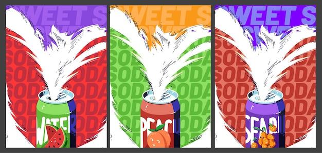 Plakaty Ze Słodkimi Napojami Sodowymi I Zimnymi Owocami Darmowych Wektorów