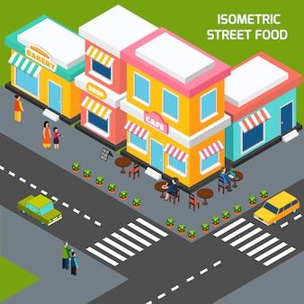 Plakietka na ulicach miasta cafe izometryczny plakat