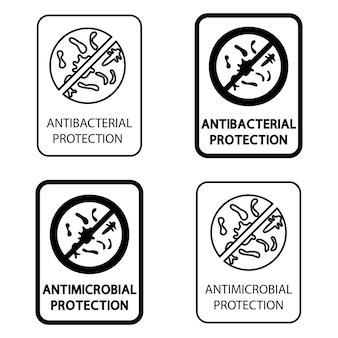 Plakietki na materiał z ochroną antybakteryjną i antywirusową. ochrona antybakteryjna odporna na działanie drobnoustrojów. znak informacyjny dotyczący ochrony powłoki przeciwdrobnoustrojowej. chroń pokrycie. wektor