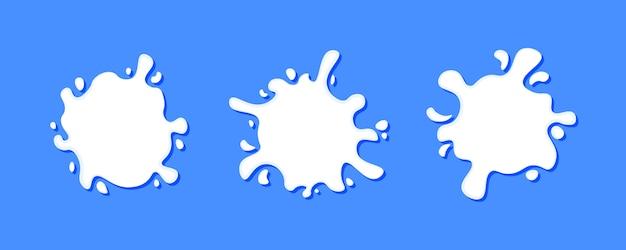 Plama mleka, krople kremu i plamy, zestaw różnych na białym tle kreatywnych logo mlecznych plusk i miejsce z kroplami dobre do projektowania opakowań na niebieskim tle, ilustracja