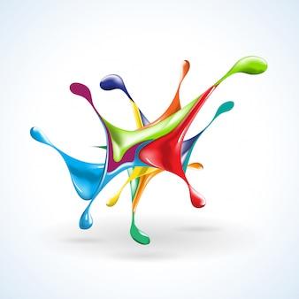 Plamy atramentu z kolorowymi kroplami w abstrakcyjnym kształcie
