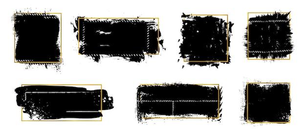 Plamy pędzla atramentu. złote ramki, czarne grunge tekstury. na białym tle brudne elementy ze złotym ornamentem wektor zestaw. rozpryski farby, brudna plama graficzna, ilustracja tekstury grunge