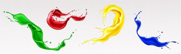 Plamy płynnych farb z wirami i kroplami na przezroczystym tle