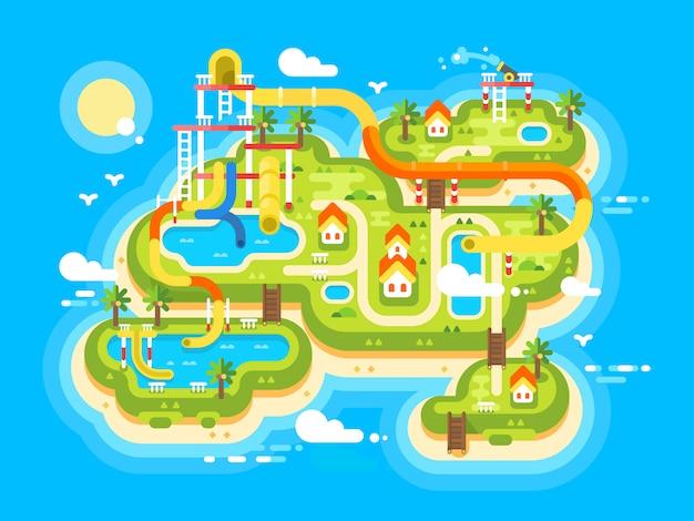 Plan aquaparku płaski