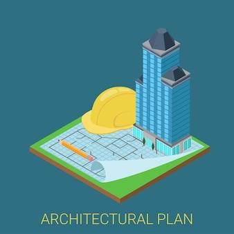 Plan architektoniczny płaska koncepcja izometryczna d