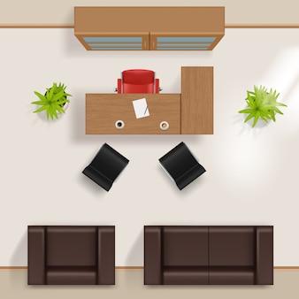 Plan biura. nowoczesny budynek biznesowy widok z góry na podłogę z meblami stół biurko krzesła okno szafa fotel kanapa wektor realistyczny. zaplanuj wnętrze pokoju, zobacz ilustrację krzesła stołu projektu
