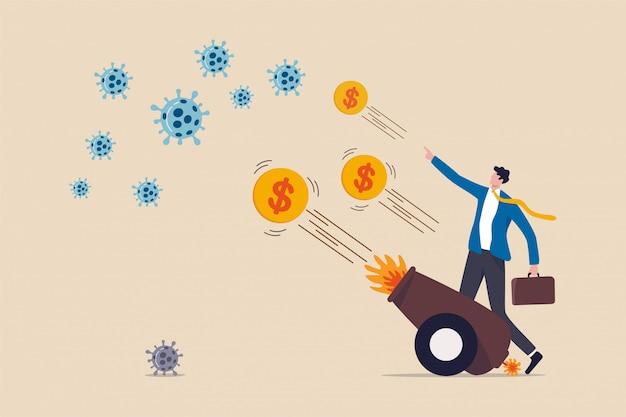Plan bodźców finansowych związanych z kryzysem koronawirusa, zastrzyk pieniędzy fed, qe ilościowe złagodzenie, aby wspomóc ekonomię w blokowaniu koronawirusa covid-19, biznesmen używa arsenału, aby strzelać do pieniędzy w celu zwalczania wirusa.