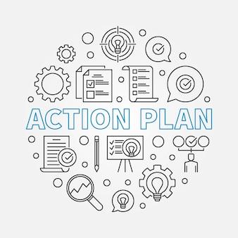 Plan działania okrągła liniowa ilustracja