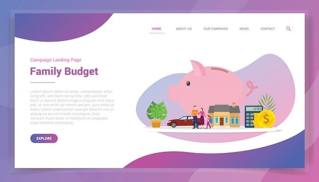Plan finansowy oszczędności z budżetu rodzinnego na szablon witryny lub kampanię projektu strony docelowej