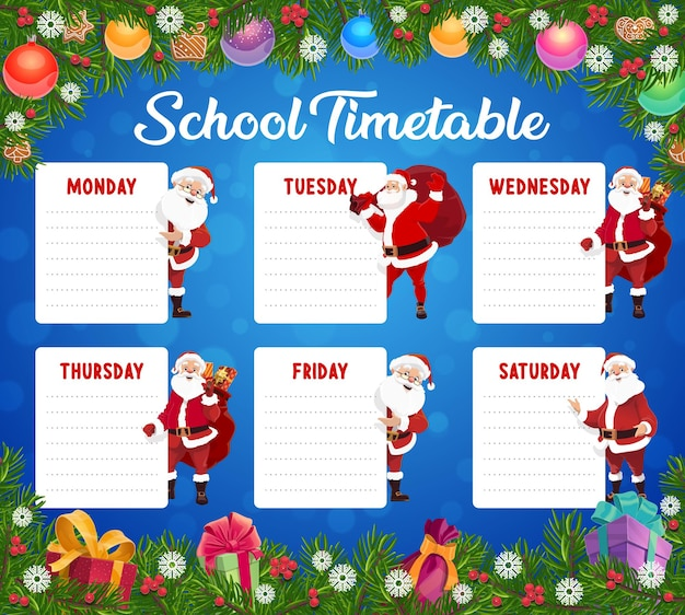 Plan lekcji dla dzieci w boże narodzenie, harmonogram lekcji dla dzieci z dekoracjami świątecznymi i mikołajem. szablon planowania wakacji zimowych dzieci. santa postać z prezentami, zabawki choinkowe kreskówka wektor