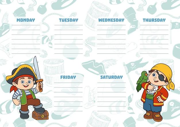Plan lekcji dla dzieci z dniami tygodnia. kolorowe postacie piratów z kreskówek