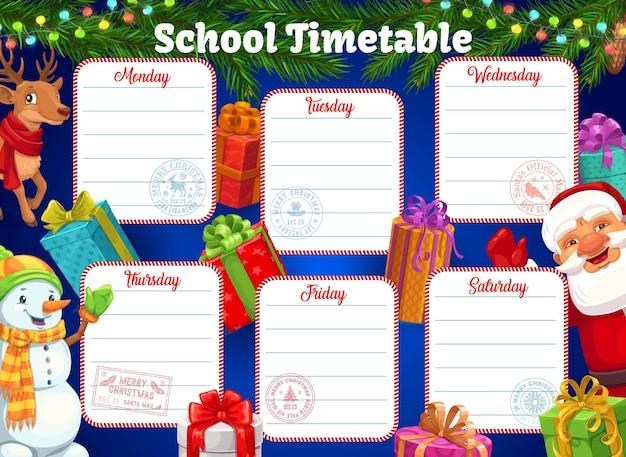 Plan lekcji lub harmonogram szkolny, boże narodzenie w tle