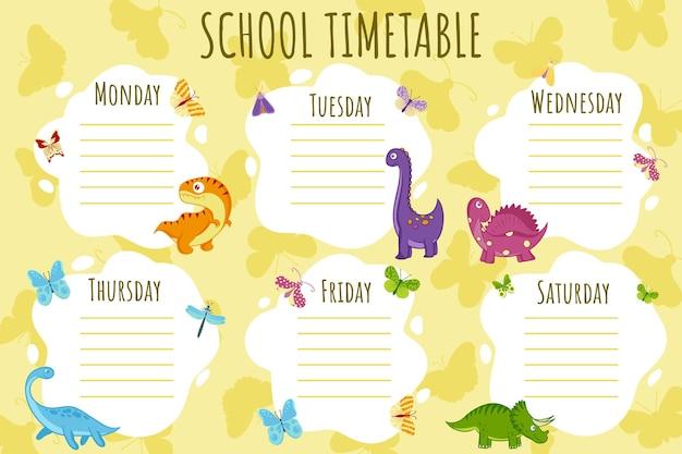 Plan lekcji. szablon wektor harmonogramu tygodniowego dla uczniów, ozdobiony kolorowymi dinozaurami, motylami i palmami.