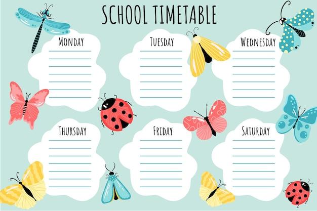 Plan lekcji. szablon wektor harmonogramu tygodniowego dla uczniów szkół, ozdobiony kolorowymi owadami, motylami, ważkami i ćmami.