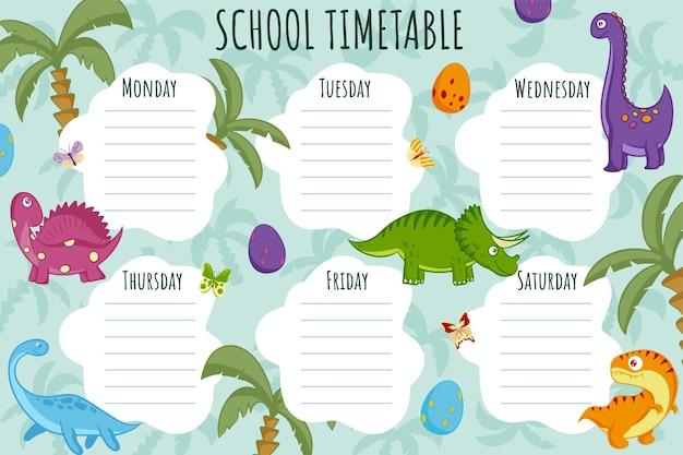 Plan lekcji. szablon wektor tygodniowy harmonogram dla uczniów, ozdobiony kolorowymi dinozaurami, motylami i palmami.