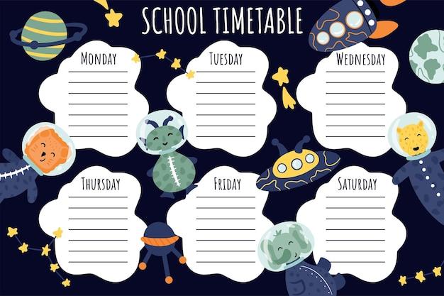 Plan lekcji. tygodniowy harmonogram wektor szablon dla uczniów, ozdobiony elementami kosmicznymi, rakietą, kosmitą, gwiazdami, astronautami, satelitą.