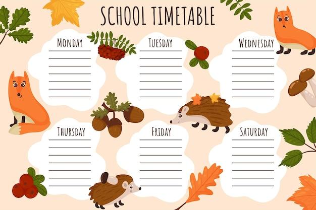 Plan lekcji. tygodniowy harmonogram wektor szablon dla uczniów, ozdobiony jesiennymi elementami, jeżem, lisem, liśćmi, borówki brusznicy.