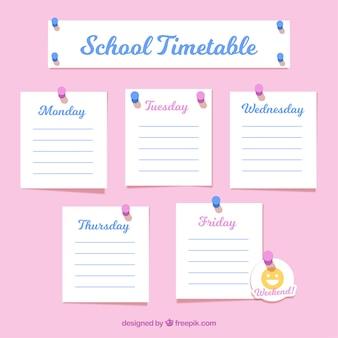 Plan lekcji w szkole jako notatki
