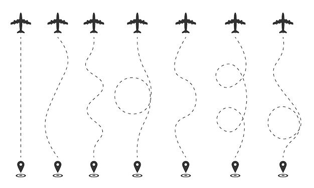 Plan lotu samolotu na białym tle. trasa samolotu liniami przerywanymi, gps. miejsce startu lotu, ścieżka turystyczna. ślady podróżnika w przerywanych liniach.