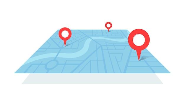 Plan mapy miasta z szpilkami do lokalizacji rzeki gps i trasą nawigacyjną od znaczników punktu a do b. wektor niebieski kolor perspektywiczny widok izometryczny schemat lokalizacji ilustracji