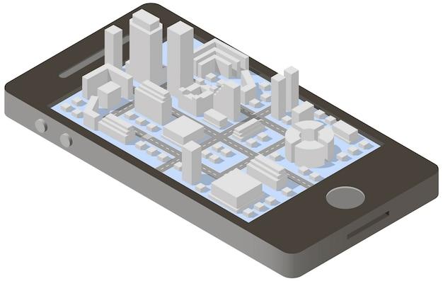 Plan miasta izometryczny na smartfonie