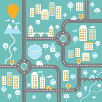 Plan miasta na żywo z szablonem schemat krajobrazu drogowego