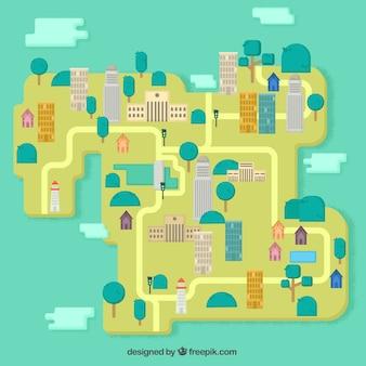 Plan miasta w płaskiej konstrukcji